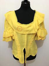 CULT VINTAGE AÑOS 70 Camisa De Mujer Lino Blusa Flax Sz. L - 46