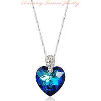 925 Sterling Silver Blue Ocean Heart Swarovski Element Crystal Pendant Necklace
