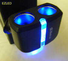 Car 12V Power Socket Extension with Blue Display Light for Night Driving NEW