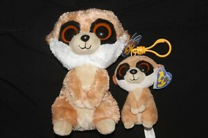 ty beanie boos 6 inch rebel meerkat +keyclip old solid eyes both with heart tag