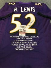 BALTIMORE RAVENS RAY LEWIS AUTOGRAPHED SIGNED STAT JERSEY JSA  COA