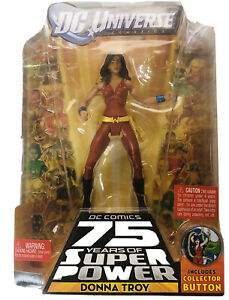 2009 NEW DC UNIVERSE CLASSIC DONNA TROY WAVE 13 FIGURE 7 TRIGON BAF WITH BUTTON