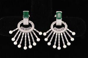 Crystal Zirconia Emerald Earrings Elegant Women Pearl Jewelry Auction