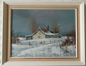 WINTER LANDSCAPE WITH FARM. CONTEMPORARY OIL PAINTING ON CANVAS .
