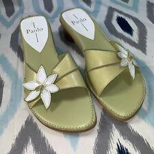 Linea Paolo Size 8.5 Women's Meddy Pale Green & White Heel Slides Open Toe
