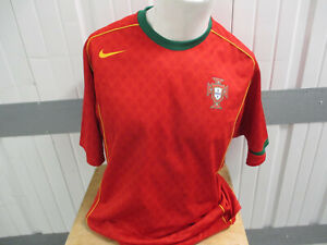 VINTAGE PORTUGAL NATIONAL SOCCER FOOTBALL MEN'S TEAM XL SEWN RED JERSEY 2004 KIT