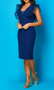 Brand new without the tags designer dress in navy crepe fabric size 8