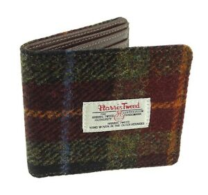 Authentic Harris Tweed Gent's Classic Wallet Green/Brown Checked LB2007 COL 59