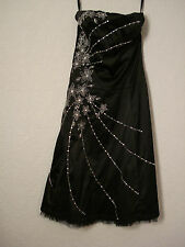 Jane Norman black satin beaded/embroidered evening/party dress 10