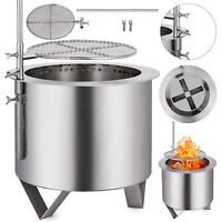Double Fire Pit Patio Burner W/BBQ Grill Stainless Steel Portable Flames Bonfire