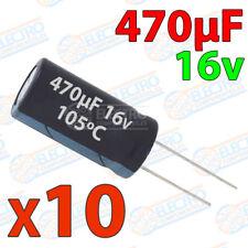 10x Condensador 470uF 16v electrolitico 105ºC 20% 8x12 PCB PIC Arduino