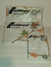 FIELDCREST Perfection Twin Size Fitted & Flat Sheet  Pillow Cases Floral VINTAGE
