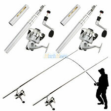 New listing 2x Mini Aluminum Portable Pocket Pen Shape Fishing Fish Rod Pole + Reel Silver