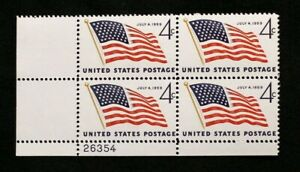 US Plate Blocks Stamps #1132 ~ 1959 JULY 4TH FLAG 4c Plate Block of 4 MNH