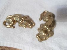 """New listing Vintage Pair of Brass Sleeping Dog Paperweights Lying Down 5"""""""