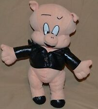 "10"" Porky The Pig Plush Dolls Toys Looney Tunes Biker Bad To The Hame Novelty"