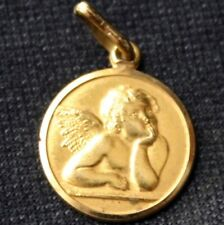 Vintage UNO A ERRE 18K Gold Angel Cherub Medal Italy