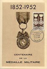 CP / MAXIMUM 1° JOUR / CENTENAIRE DE LA MEDAILLE MILITAIRE 1952 PARIS