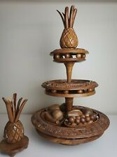 3 Tier Rotating Lazy Susan  - Monkeypod Wooden Fruit Carved Philippines MCM
