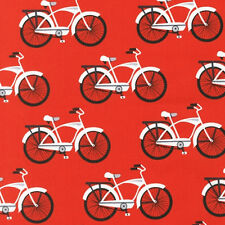 Robert Kaufman Gnome Living Bicycle Bike Fabric in Red AIB-14149-3 100% Cotton