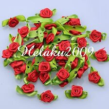 100pcs red Satin Ribbon rose flower with leaf Appliques