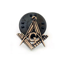 Antique Bronze Effect Lapel Pin Depicting the Masonic Square, Compass  G Symbols