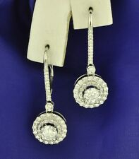 14k Solid White Gold Natural Diamond Earring leverback Dangling Halo 2.05 ct