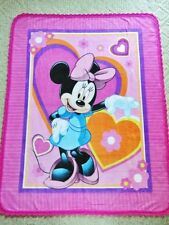 """PICTURE PANEL FLEECE BLANKET-DISNEY- MINNIE MOUSE with HEARTS & FLOWERS /46""""x60"""""""