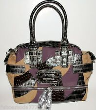 GUESS by Marciano Icon Handbag Bag Purse Satchel Camel Multi New Authentic