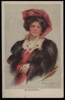 1907 VINTAGE WILDT & KRAY POSTCARD MY CHAUFFEUR .. LOVELY LADY PAINTING, BOILEAU