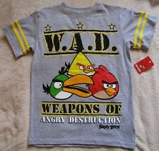 ANGRY BIRDS *Weapons of Angry Destruction* Gray S/S Tee T-Shirt sz 6/7