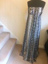 Monsoon Black, White, Gold Silk Maxi Dress Size 12