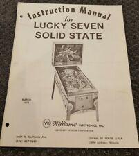 Williams Lucky Seven Pinball Machine Manual