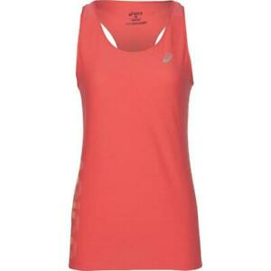 Asics Women's Running Vest Graphic Tank Top - Orange - New
