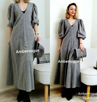 ZARA NEW GREY WOOL MIDI FLOWING LONG DRESS F/W 2020 SIZE XS S M XL