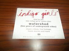 Indigo Girls Watershed  Home Video Promo Only Information Card