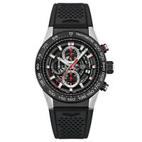 NEW TAG HEUER CALIBRE HEUER 01 CAR2A1Z.FT6044  SKELETON BLACK RUBBER MENS WATCH