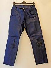 Men's Leather Dark Blue Casual Jeans Trousers Biker Motorcycle