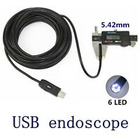 Mini 5.5mm HD 720p Borescope USB Endoscope 6*LED Inspection Camera 5M/10M Cable
