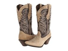 "DURANGO BOOTS LEATHER 12"" WESTERN COLLAR IVORY/CRACKLE  SZ 9 MED (B,M) TWO TONE"