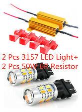 Amber/White 2X3157 LED DRL Switchback Turn Signal Parking Light Bulbs+2Resistors