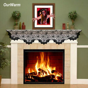 Ourwarm Lace Spiderweb Fireplace Mantle Scarf Cover Table Runner Halloween Decor