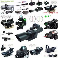 Tactical 2.5-10X40 Red Dot Sight Rifle Scope Green Laser Sight Mini Reflex 3 MOA