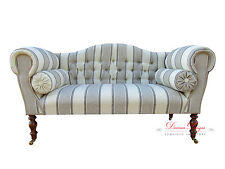 Gorgeous Bespoke Cream & Beige Herringbone Striped Double Ended Chaise Sofa
