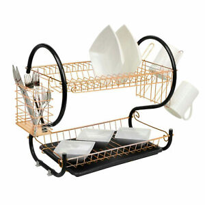 2 Tier Copper Dish Drainer Cutlery Cup Plates Holder Sink Rack Drip Tray