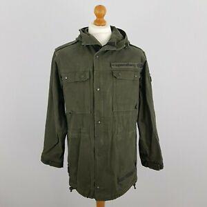 Supremebeng Mens Khaki Green Long Sleeve Zip Up Hooded Overcoat Jacket Size M