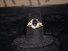 565 14k yellow gold lady's sapphire diamond ring 4.7 gram 1 TCW .25 carat G VS 2