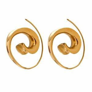 81stgeneration Brass Gold Tone Ethnic Tribal Spiral Earrings