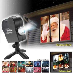 Window Projector 12 Movie Festival Projection Lamp Christmas Outdoor Garden Deco