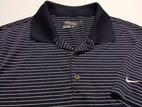 Nike Golf Dri-Fit Mens Small Short Sleeve Blue Striped Athletic Polo Golf Shirt